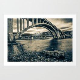 Branson Lake Taneycomo Bridge in Sepia Art Print