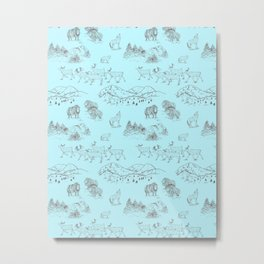 Arctic Wildlife Pattern (Light Blue and Brown) Metal Print
