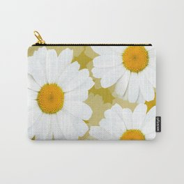 Bunch of White Daisies Olive Color Background #decor #society6 #buyart Carry-All Pouch