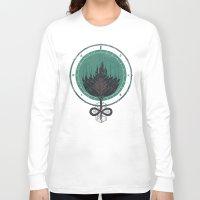 dahlia Long Sleeve T-shirts featuring Black Dahlia by Hector Mansilla