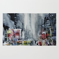 new york Area & Throw Rugs featuring New York - New York by Nicolas Jolly