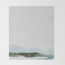 Mountain Vista with Big Sky and River, Winterscape Throw Blanket