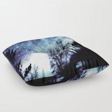 Black Trees Indigo Blue Space Floor Pillow