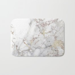 Champagne Rose Gold Blush Metallic Glitter Foil on Grey Marble Bath Mat