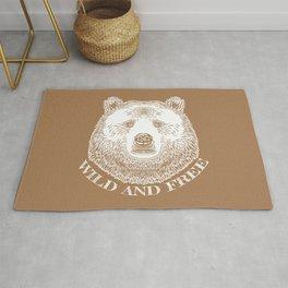 Bear Head, Wild And Free, Hand Drawn Illustration Rug