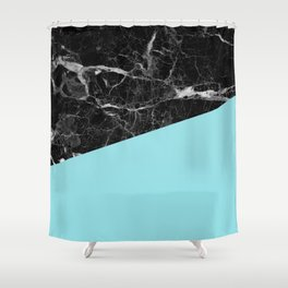 Black Marble and Island Paradise Color Shower Curtain