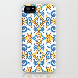 Pattern in Majolica Style. Blue and Gold Colors on White iPhone Case
