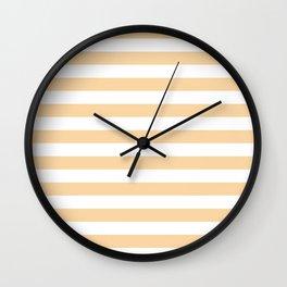 Narrow Horizontal Stripes - White and Sunset Orange Wall Clock