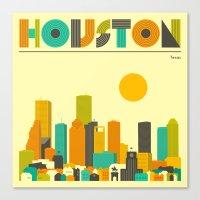 houston Canvas Prints featuring HOUSTON SKYLINE by Jazzberry Blue