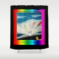 bible verse Shower Curtains featuring THE BIBLE by KEVIN CURTIS BARR'S ART OF FAMOUS FACES