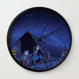 the night on the roofs of Paris Wall Clock