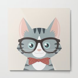 Grey Tabby Hipster Cat Metal Print