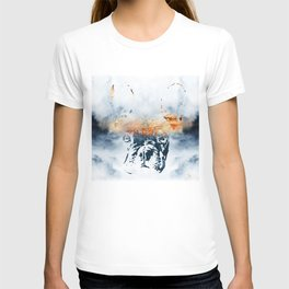 French bulldog and landscape abstract design T-shirt