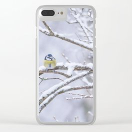 Blue Tit On A Snowy Branch Winter Scene #decor #society6 Clear iPhone Case