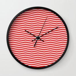 Australian Flag Red and White Wavy Chevron Stripe Wall Clock