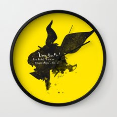 I'm late! – White Rabbit Silhouette Quote Wall Clock