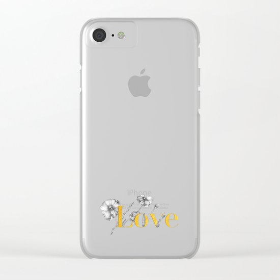 Love - Gold flowers and polkadots on white Clear iPhone Case
