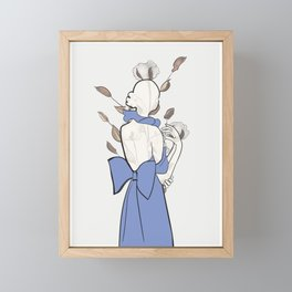 Minimalistic drawing - Woman with flowers Framed Mini Art Print