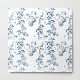 Chinoiserie in White Metal Print