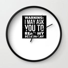Screenwriter Warning Wall Clock