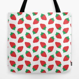 Cream Strawberries Pattern Tote Bag