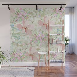 Hand painted ivory pink watercolor country chic floral Wall Mural