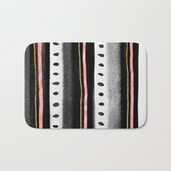 Pattern Play / Pink, Gold & Black Bath Mat