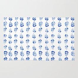 Indigo Blossom - nature watercolour pattern Rug