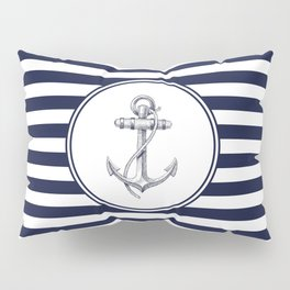 Anchor and Navy Blue Stripes Pillow Sham
