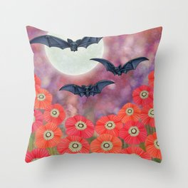 moonlit black bats and poppies Throw Pillow
