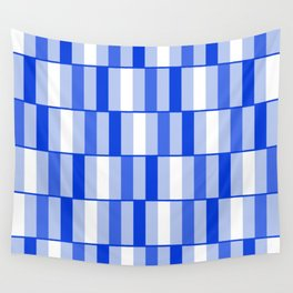 Long Blocks Geometric Check Pattern in Light Blue, Royal Blue, and White Wall Tapestry