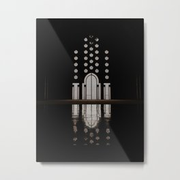 Islamic Architecture Inside Mausoleum Window Geometric Pattern Silhouette Mysterious Metal Print