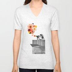 in bloom (black & white) Unisex V-Neck