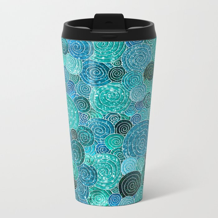Abstract blue& green glamour glitter circles and dots for Girls and ladies Metal Travel Mug