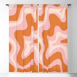 Liquid Swirl Retro Abstract Pattern in Pink Orange Cream Blackout Curtain