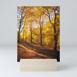 golden autumn forest morning Mini Art Print