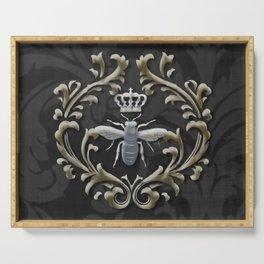 Elegant Black & Gold Damask Bee Serving Tray
