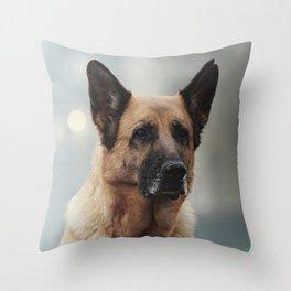 Portrait of a German Shepherd in Venice Throw Pillow