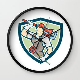 Plumber Holding Wrench Plunger Shield Cartoon Wall Clock