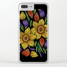 Embroidered Flowers on Black Circle 05 Clear iPhone Case
