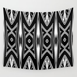 Tribal Black and White African-Inspired Pattern Wall Tapestry