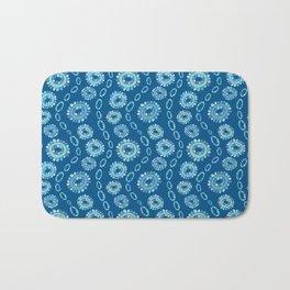 Wavy Toothy Flowers > Blue Bath Mat