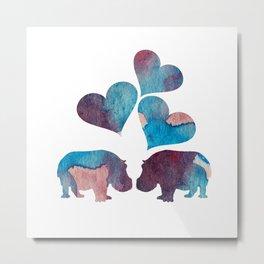 Hippo Art Metal Print