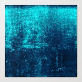 Denim & Turq Distressed Concrete Texture Canvas Print