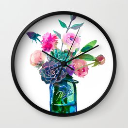 Watercolor flowers in mason jar Wall Clock
