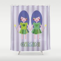 gemini Shower Curtains featuring Gemini by Esther Ilustra