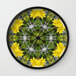 Kaleidoscope of showy St Johns Wort Wall Clock