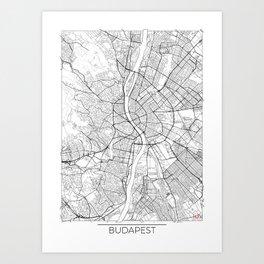 Budapest Map White Art Print
