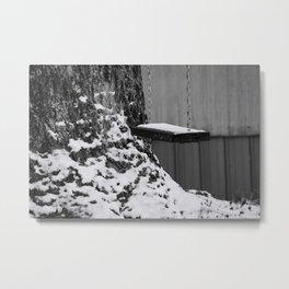 Swing in snow Metal Print