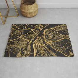 PITTSBURGH PENNSYLVANIA GOLD ON BLACK CITY MAP Rug